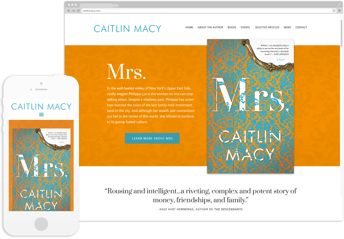 Website design and development for author Caitlin Macy