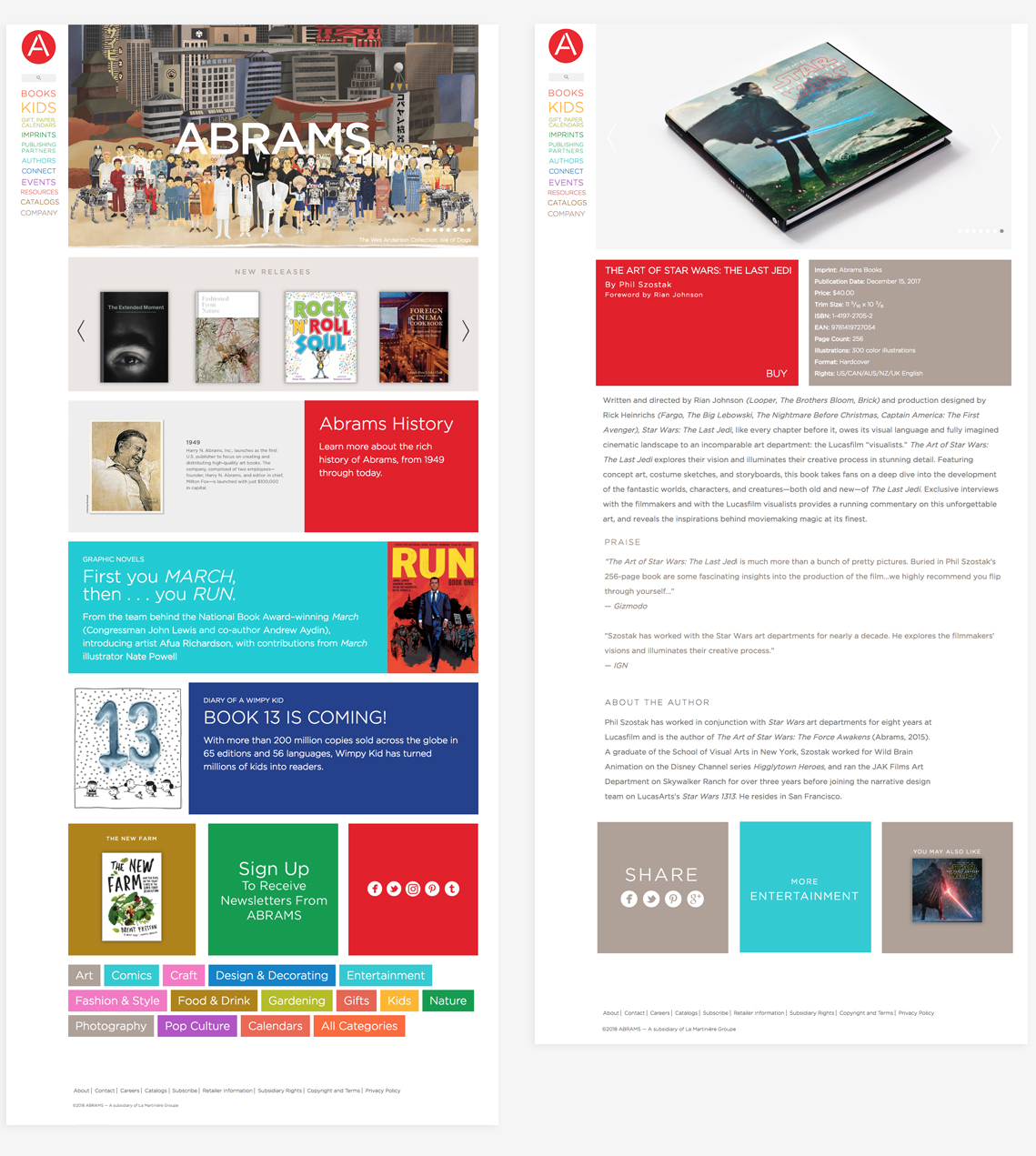 Details of the Abrams website design
