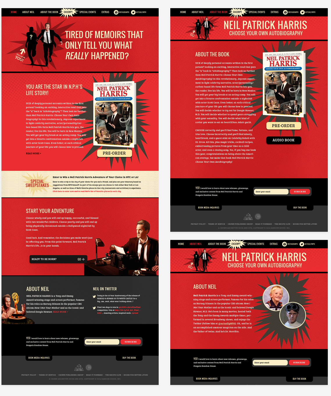 Details of the website design for Neil Patrick Harris
