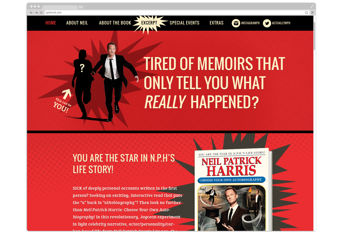 Website design and development for Neil Patrick Harris