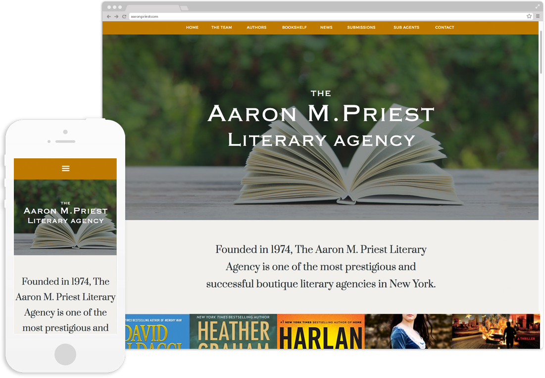 Website design and development for Aaron M. Priest Literary Agency