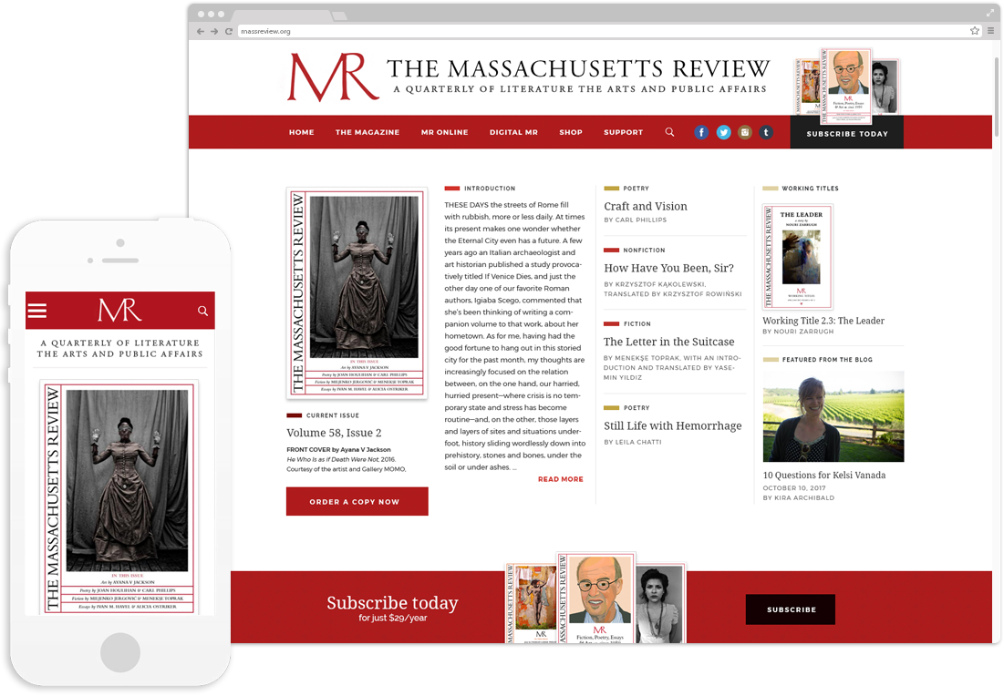 Website design and development for The Massachusetts Review