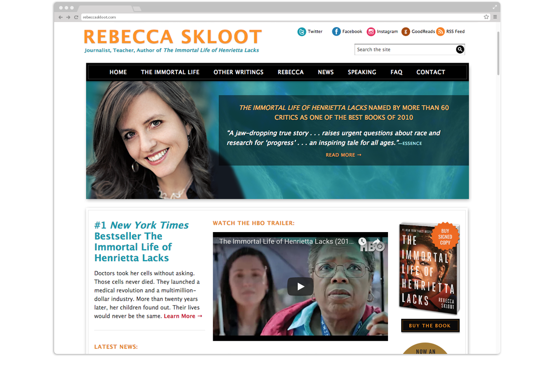 Author Rebecca Skloot Website Design
