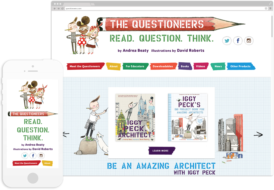 The Questioneers Website Design displayed on desktop and mobile