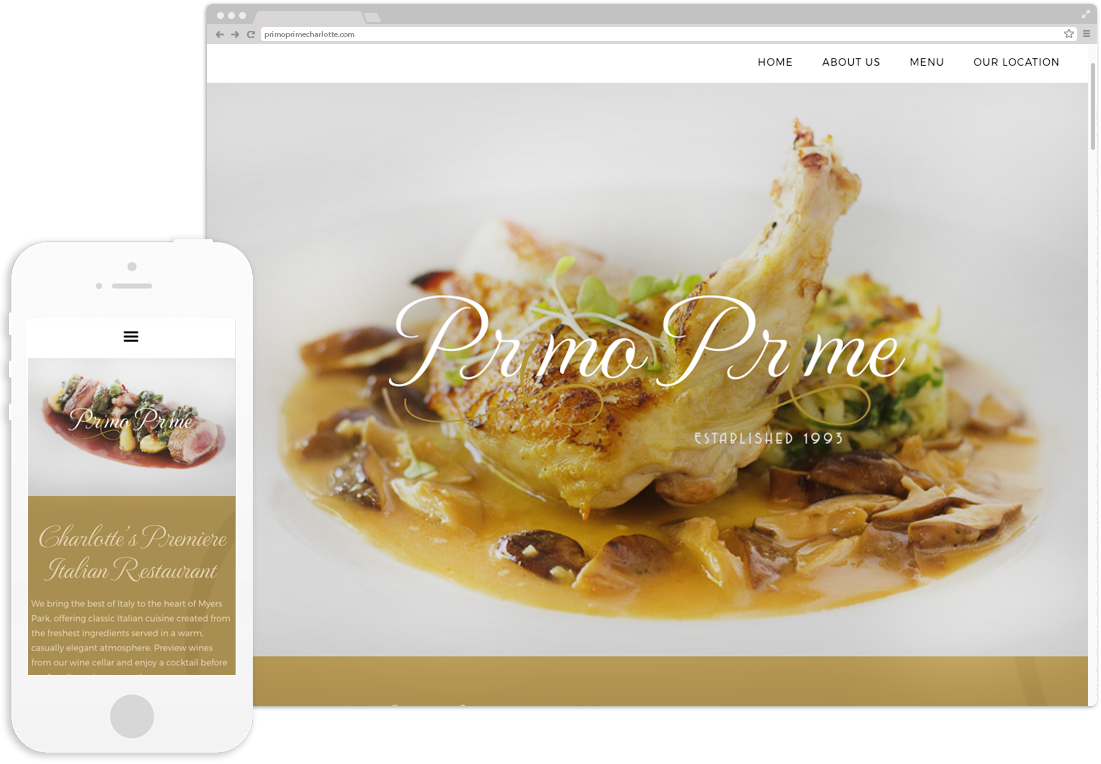 Primo Prime Website Design displayed on desktop and mobile
