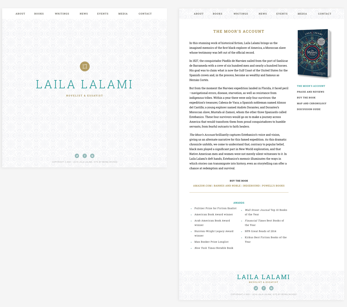 Full design details for Laila Lalami with full homepage and individual book view