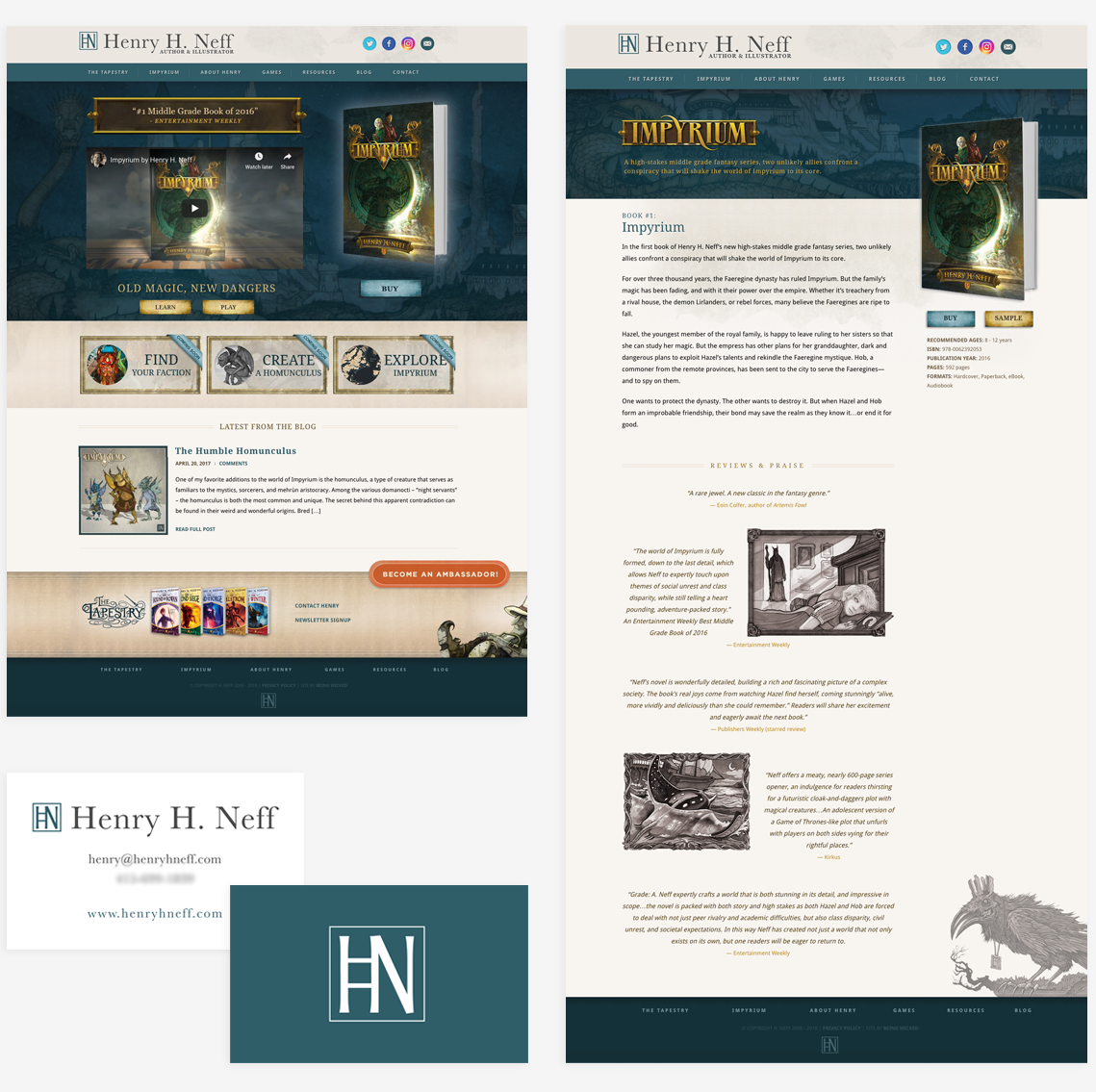 Full design detail screenshots for Henry H. Neff website