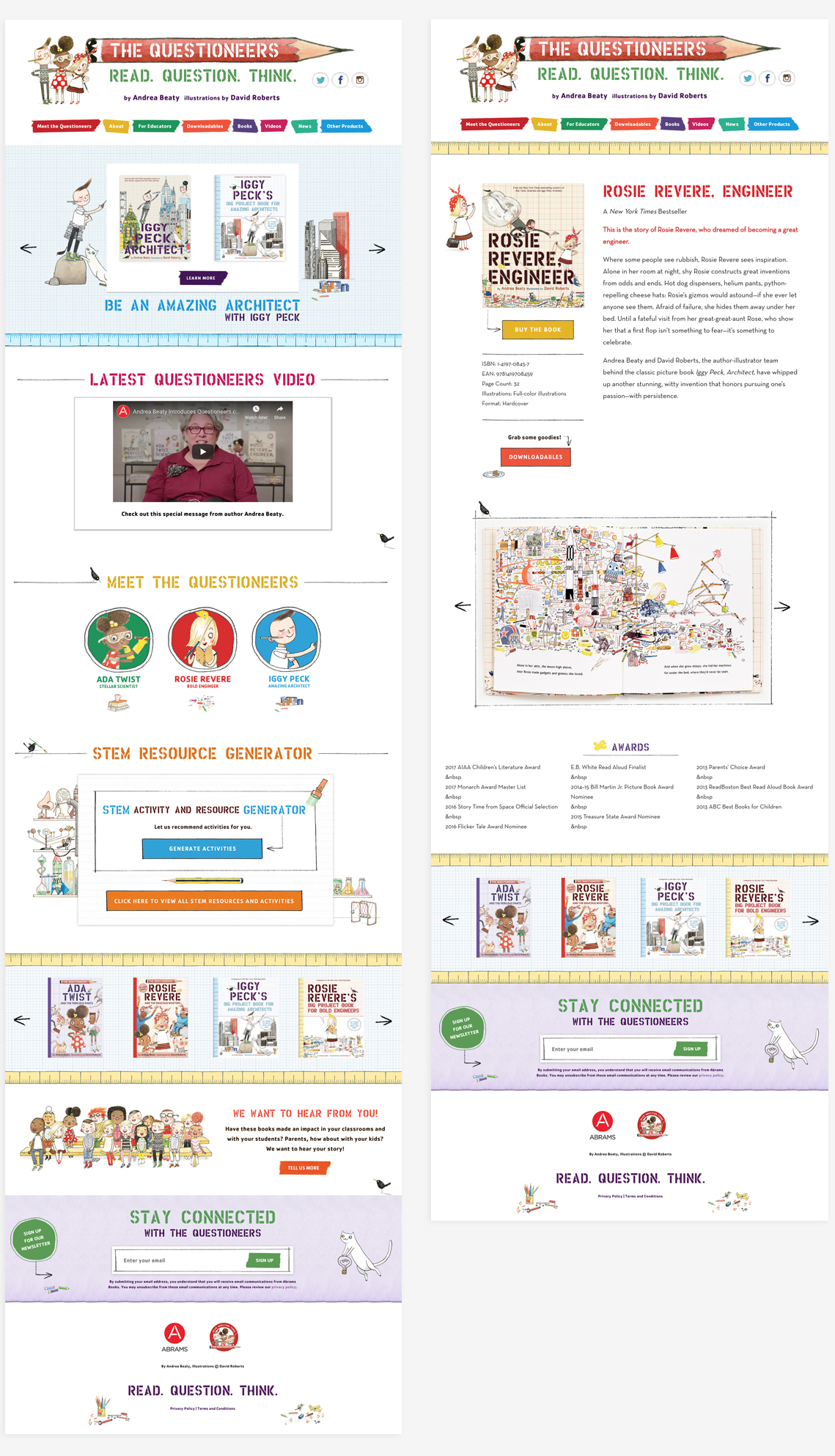 Full design details for The Questioneers with full homepage and individual book view