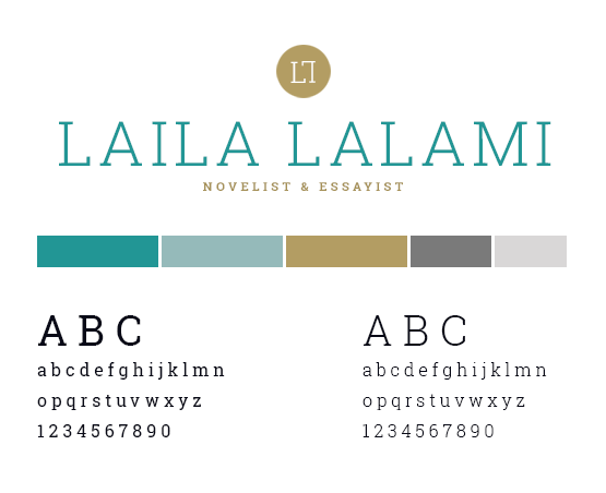 Laila Lalami style guide with logo and colour palette
