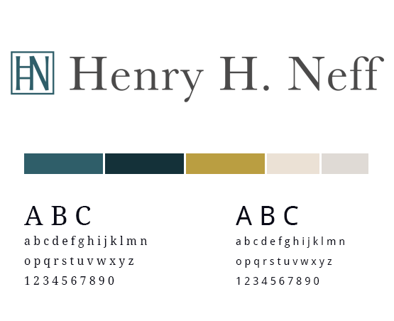Henry H. Neff style guide with logo and colour palette