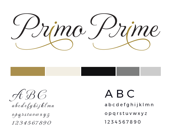 Primo Prime style guide with logo and colour palette