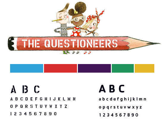 The Questioneers style guide with logo and colour palette