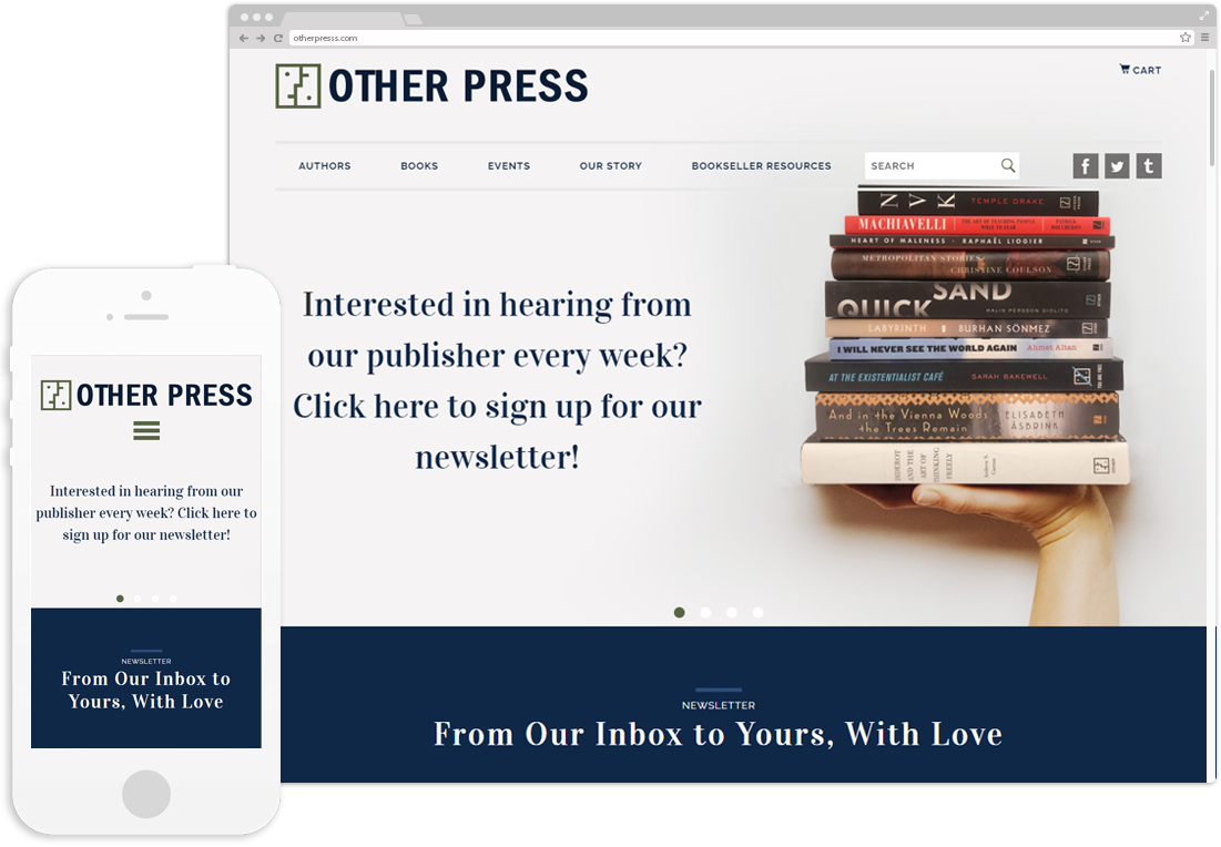 The Other Press website on desktop and mobile browsers