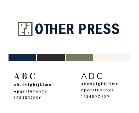 The Other Press  style guide with logo and colour palette